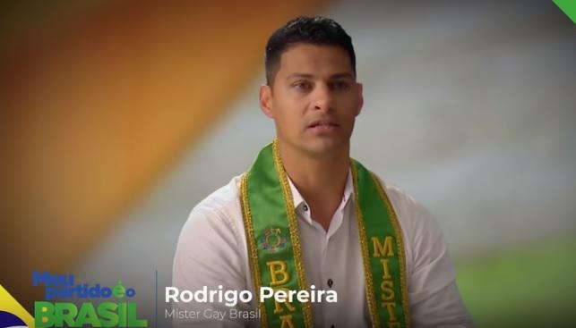 Mister Gay Brasil Rodrigo Pereira em vídeo de apoio à Bolsonaro